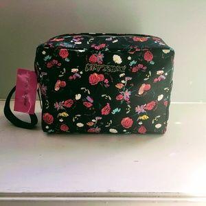 Betsey Johnson Large Double Zip Cosmetic Bag New